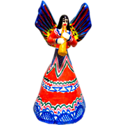 Vintage Mexican Folk Art Angel w/ Trumpet Pottery Candle Holder - Red Tag Sale Item