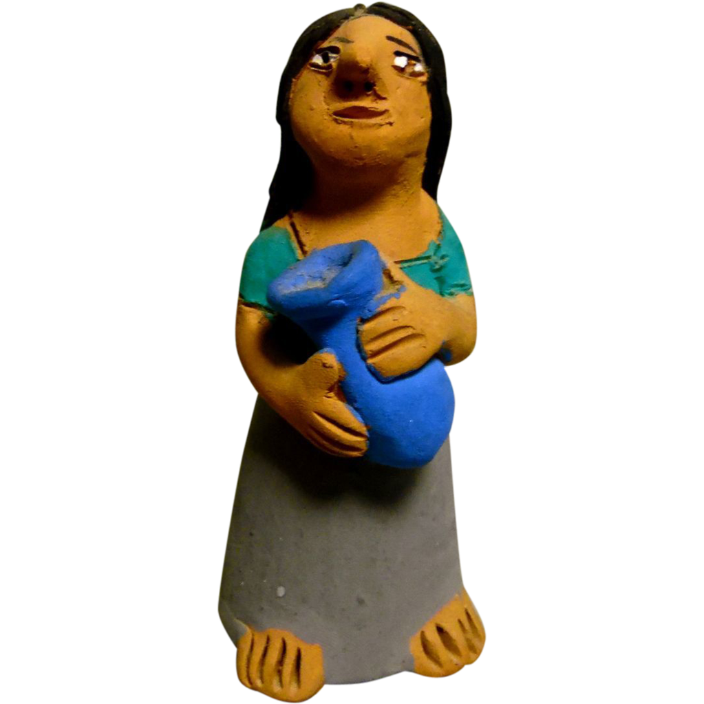 Vintage Mexican Folk Art Pottery Girl With a Blue Vase signed by Josefina Aguilar