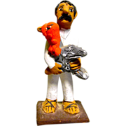 Vintage Mexican Folk Art Pottery Man holding a Turkey signed by Josefina Aguilar