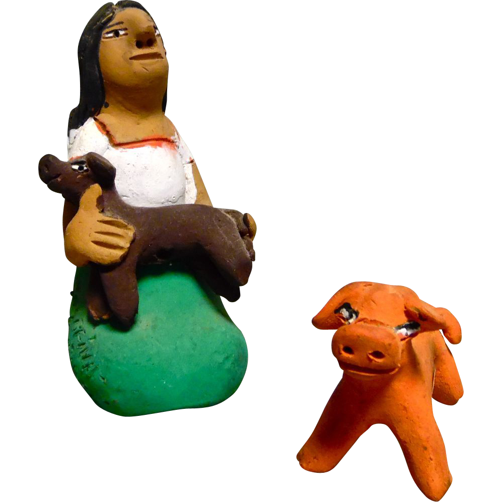 Vintage Mexican Folk Art Pottery Girl With Dog and Pig signed by Josefina Aguilar