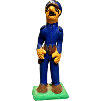 "Vintage Mexican Folk Art Pottery Policeman ""Federales"" signed by Josefina Aguilar"