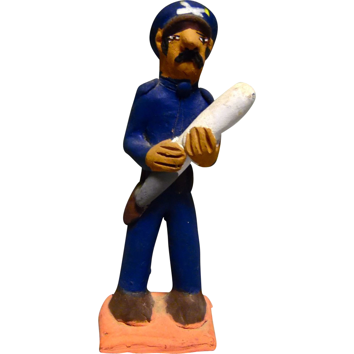 "Vintage Mexican Folk Art Pottery Policeman ""Federales"" with a stick signed by Josefina Aguilar"