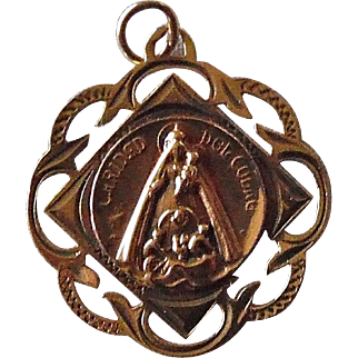 Victorian Madonna Religious Medal 18K Gold