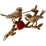 A Circa 1930's Engel Brothers 14K Gold w/Ruby Eyes and Coral Love Bird Pin