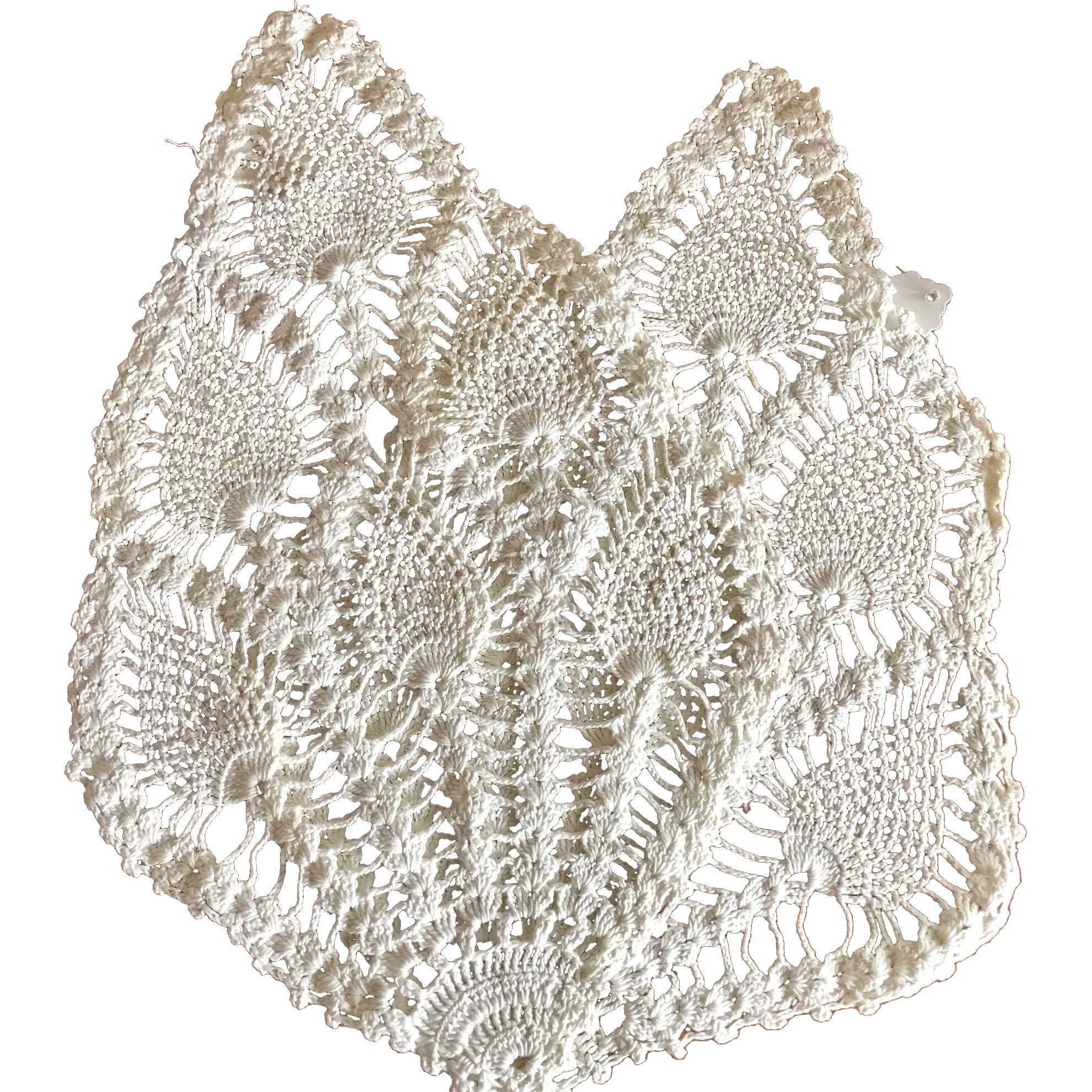 A Pair of Peacock Feather Hand Crochet Doilies