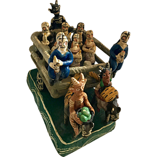 Vintage Mexican Ocumicho Folk Art El Diablo Thirteen Figures Sculpture