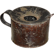 Tin Spittoon / Cuspidor Make-do Candle Holder - Civil War Era Japanned