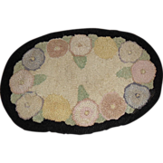 Vintage Hooked Floral Table or Candle  Mat