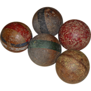 Old & Primitive Wooden Croquet Balls - Original Paint - Group of 5