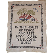 Vintage Motto Sampler - Welcome Guest - 1940s Cross Stitch