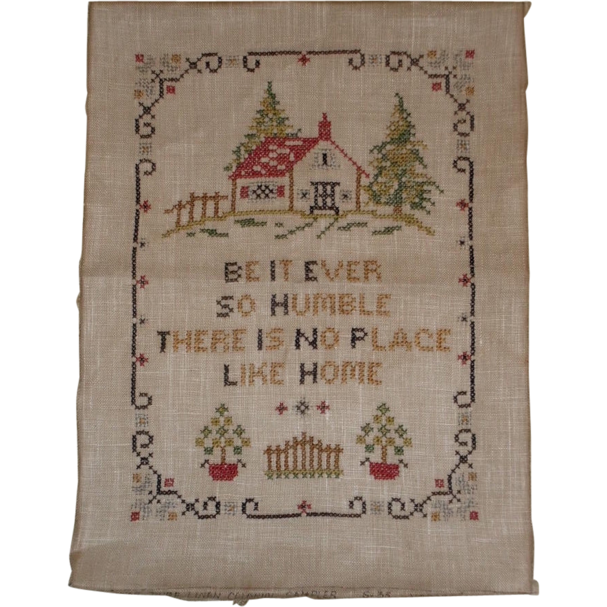 Vintage motto sampler no place like home s cross