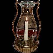 c. 1890 Tin Candle Lantern with Pie Crust Shade