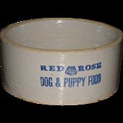 c.1920 Red Rose Dog & Puppy Food Stoneware Advertising Crock Bowl