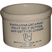 Stoneware Crock Producers Creamery Fruit Belt Butter Cottage Cheese