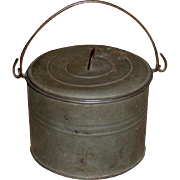 c. 1910s Small Tin Berry Bucket - Lunch Pail