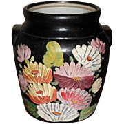 Large 1930s Ransburg Crock - Cookie Jar Hand-painted Flowers