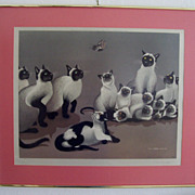 "NOW 50% OFF  Vintage Cat Print Siamese Cats & Butterfly ""The Intruder"" by Japanese Artist Foussa Itaya in 1959"