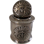 Unger Bros. Sterling Silver Indian Chief Pattern Inkwell