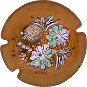 Vintage Sascha Brastoff Mid Century Enamel on Copper Ashtray Floral Design