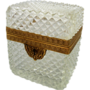 Vintage French Jewelry Casket Diamond Cut Crystal Tea Box