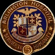 Vintage 10K Gold Nursing Employee Service Award Pin Arlington Hospital 5 Year