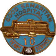 Vintage Nursing Employee Service Award Pin Good Samaritan Hospital 10 Years Enamel  Diamond
