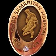 Vintage Nursing Employee Service Award Pin Good Samaritan Hospital 20 Year Diamond