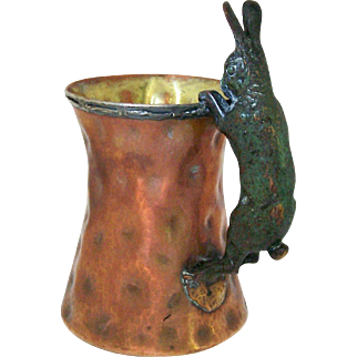 Vintage Joseph Heinrichs Arts and Crafts Tankard Rabbit Handle Hammered Copper and Silver