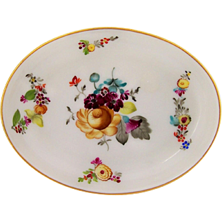 Vintage Herend Hungary Porcelain Pin Dish Hand Painted Flowers