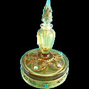 Vintage Perfume Bottle Powder Jar Combo Boxtle Rare 1920s Jeweled Amber Glass