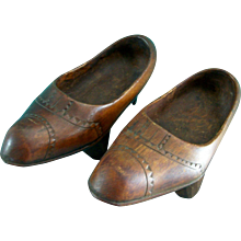 Vintage Primitive WW 1 French Hand Carved Wooden Shoes Sabots Folk Art