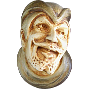 Chalkware Match Holder Man's Face Circa late 1800s