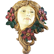 Vintage Christmas Poinsettia Lady Plaster Face Wall Sconce Candle Holder