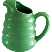 Vintage Padre Pottery Pitcher Green 1940s Beehive Ringed Doughnut Carafe
