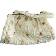 Vintage Corde'-Bead Handbag Pink & Green Flowers Retro Purse Beaded Bag