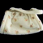 Vintage Corde'-Bead Handbag Pink & Green Flowers Retro Purse Beaded Bag