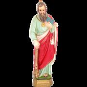 Chalkware Religious Statue Catholic Icon St. Jude Figurine