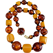 Vintage Butterscotch Bakelite & Root Beer Lucite Chunky Bead Necklace