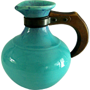 California Pottery Pitcher Turquoise Wood Handle Mid Century Bauer