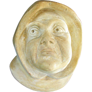 Chalkware Match Holder Monk's Face Circa late 1800s