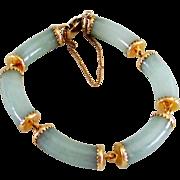 Vintage Ming's of Honolulu 14K Jadeite Jade Bracelet in Original Red Box