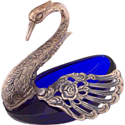 Vintage Figural Salt Cellar Cobalt Blue Crystal Silver Plate Swan Repousse & Reticulated Wings