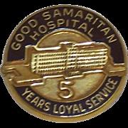 Vintage Nursing Employee Service Award Pin Good Samaritan Hospital 5 Year