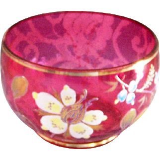 Vintage Cranberry Glass Bowl Hand Painted Enamel Flowers & Gold Trim