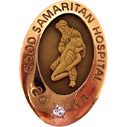 Vintage Nursing Employee Service Award Pin Good Samaritan Hospital 20 Year Enamel Diamond 1//10 10K GF