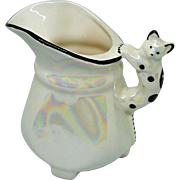 Vintage Czechoslovakia Pitcher With Cat Handle