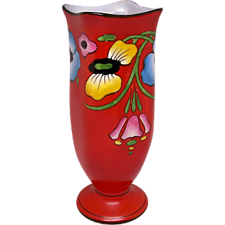 Art Deco Regal Ware Art Pottery Vase Flowers on Bright Red