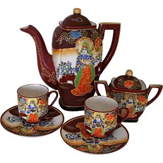 Vintage Japanese Moriage Satsuma Demitasse Set Handpainted Porcelain Japan