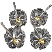 Tiffany Sterling Salt Spoons Gold Washed and Crystal Salt Cellars Set of 4