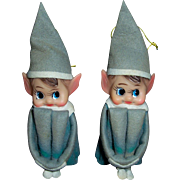 Vintage Knee Hugger Elves Christmas Ornament Pair Japan